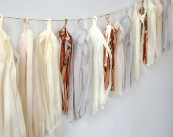 Tissue Tassel Garland in Industrial Chic, FREE Shipping: Gray, Taupe, Ivory, Copper