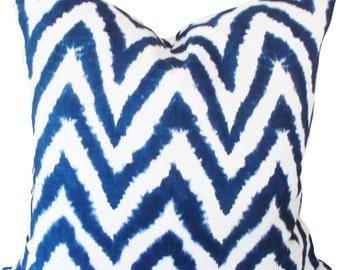 Premier Prints Blue Ikat Chevron Decorative Pillow Cover - Throw Pillow - Accent Pillow - Both Sides - 12x20, 14x24, 18x18, 20x20, 22x22