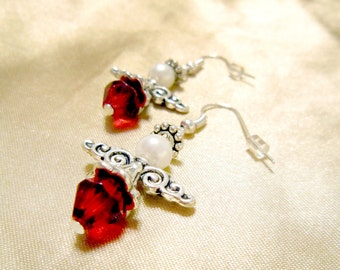 Red Glass Guardian Angel Earrings with Metal Skirt