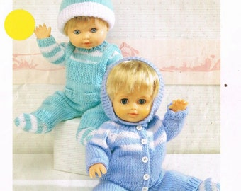 Patons 5093 dolls suit with beanie hat vintage knitting pattern PDF instant download