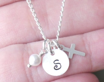Tiny Cross Necklace, Baptism Gift, First Communion, Baby Dedication Gift, Girl Baptism Gift, Girl First Communion Gift, Initial Birthstone