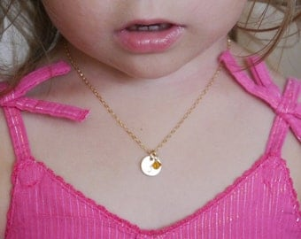 Personalized Little Girl Gifts, Little Girl Jewelry, Personalized Little Girl Necklace, Child Initial Necklace, 14k gold fill necklace, GCDB
