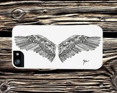 Angel WIngs Illustration iPhone 4 Case black ink texture Art Print iPhone 5 wing custom art Samsung Galaxy S4 unique phone case for summer