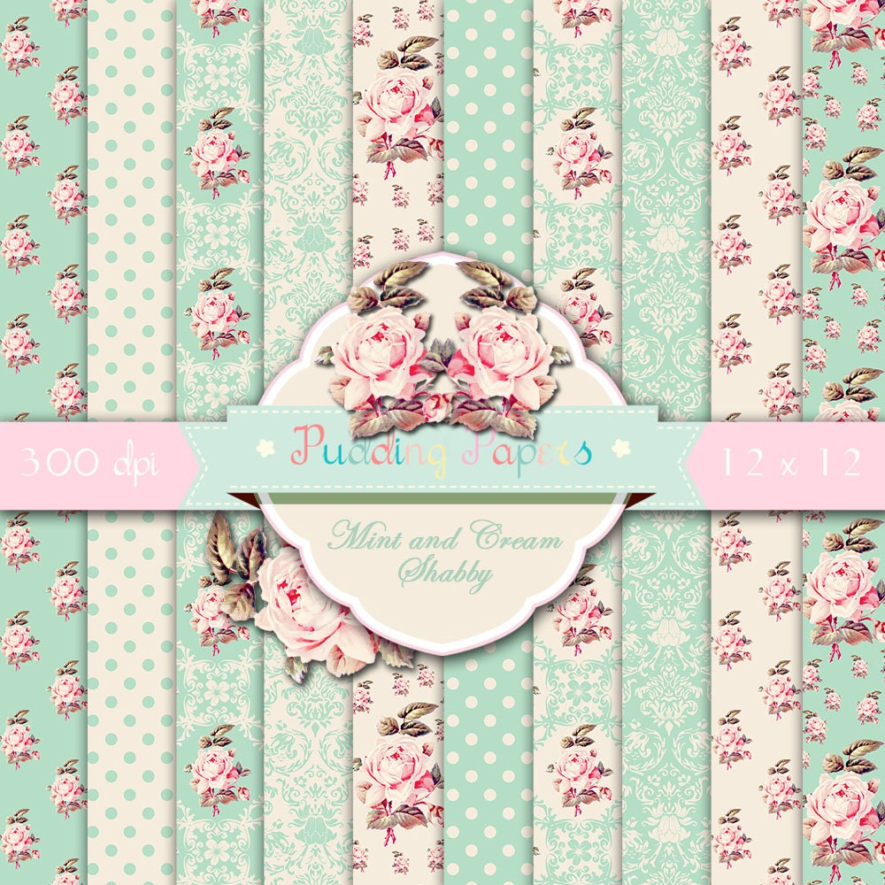shabby digital paper mint and cream shabby floral. Black Bedroom Furniture Sets. Home Design Ideas