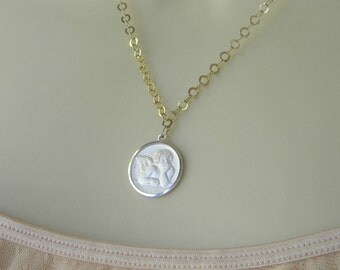 Vintage CHERUB NECKLACE PENDANT STeRLiNG SiLVeR 925 BLiNG BLiNG