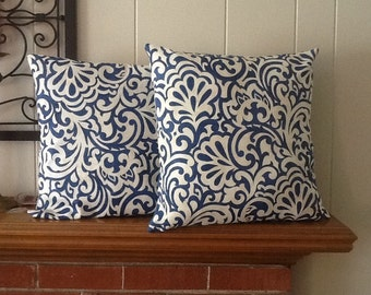 Blue and white pillow covers, 18 x 18 pillow covers, throw pillows