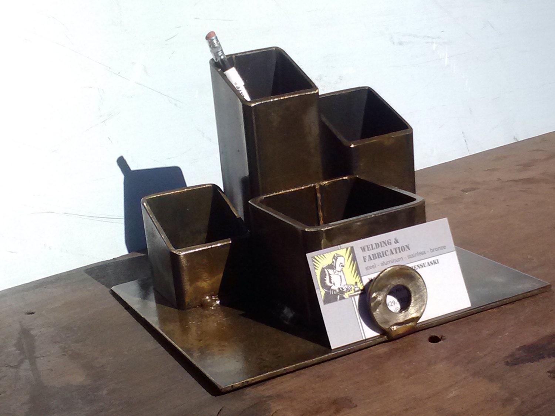 desk organizer pencil holder business card holder welded