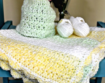 Baby Blanket, Hat and Bootee Set