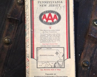 Vintage 1934 AAA Road Map Pennsylvania New Jersey