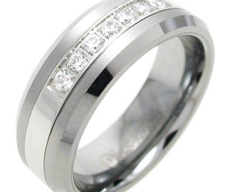 Stunning Men's Tungsten 0.35 Carat CZ Inlaid Band Ring Size 9-13 TW