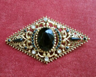 Florenza black and clear rhinestone brooch