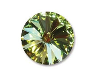 CITIRNE Swarovski Crystal Rivoli Swarovski, Crystal Elements 12mm Qty 2 Foiled Light Green Blue