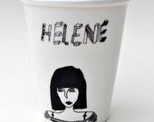 Helene - porcelain cup with handmade illustration