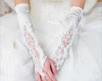 Bridal Fingerless Lace Pearls Wedding Gloves White (317)