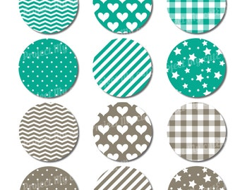 Cupcake toppers Dark Cyan & Warm Grey- Instant Download - Flag pennant