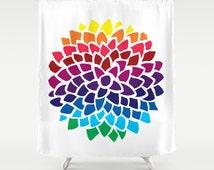 Colorful Shower Curtain - Rainbow Dahlia  - Flower, minimal shower curtain, yellow, blue, red, purple, teal