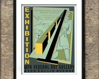 Vintage WPA Art Exhibition Poster Art Print different sizes available
