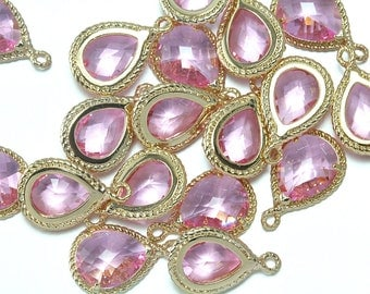 10% OFF (10 Pieces) . Pink Glass Pendant .  Wholesale Jewelry Supply . 16K Polished Gold Plated over Brass - CG001-PG-Pk