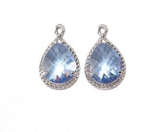 Light Sapphire Glass Pendant . Jewelry Craft Supplies . Polished Original Rhodium Plated over Brass  / 2 Pcs - CG001-PR-LS