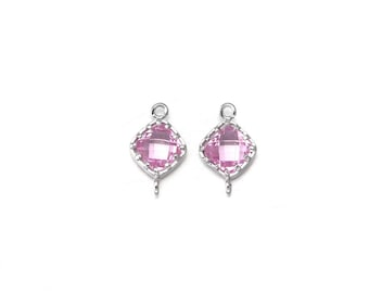 Pink Glass Connector .  Jewelry Supplies . Polished Original Rhodium Plated over Brass  / 2 Pcs - CG028-PR-PK