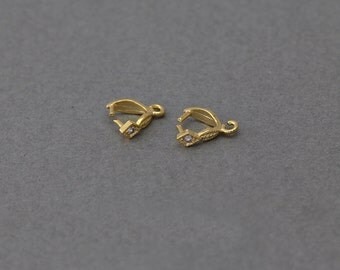 Brass Bail . Jewelry Findings . Wedding, Bridal Jewelry . 16K Polished Gold Plated over Brass  / 2 Pcs - JC015-PG-CR