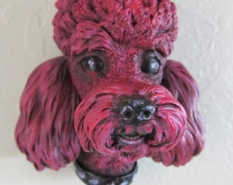 SALE!!  Upcycled Hand Painted Pink Bosson Chalkware Poodle