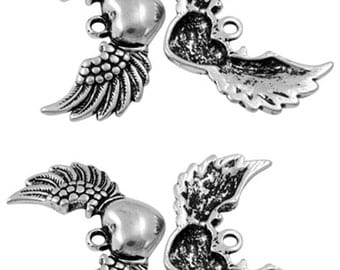 4 x Antique Silver Winged Heart - Tattoo Charms - Angel Wings - 36.5mm x 25.5mm  - Love Heart Wing - TS152