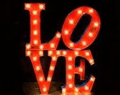 Love Sculpture Letter Package, Marquee letter, marquee light, wedding sign, Lighted MARQUEE SIGN, Marquee Letter: 1960's Syle Love Sculpture
