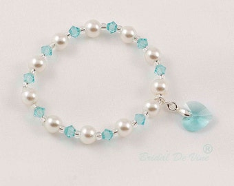 Bridesmaid Flower Girls Bracelet Light Turquoise (Tiffany Blue )Swarovski Crystals