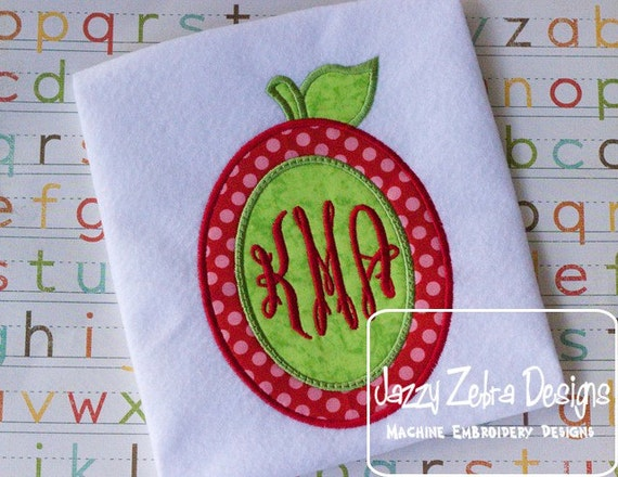 Apple with Monogram Oval Appliqué embroidery Design - school appliqué design - apple appliqué design - teacher appliqué design