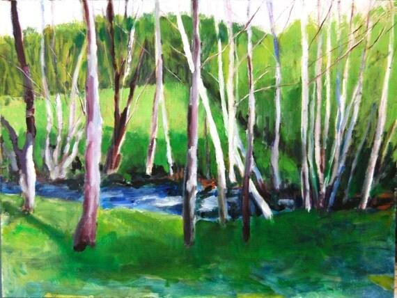 Original Oil Painting Landscape:  El Camino Brook