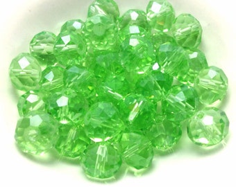 25 Light Green Faceted Glass Beads, 8mm X 6mm (1-1255)