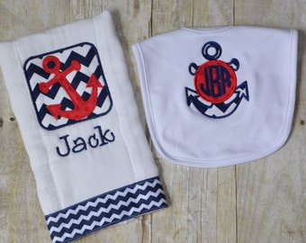 Nautical Anchor Personalized Bib and Burp Cloth