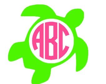 Sea turtle monogram vinyl decal cu stom colors