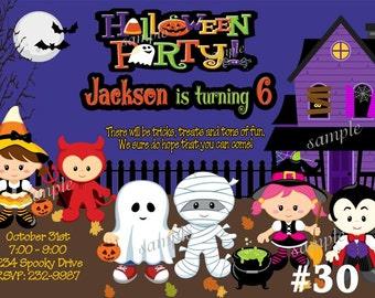 Halloween Birthday Invitations  Kids, Childrens Costume party Printable Halloween Invitation
