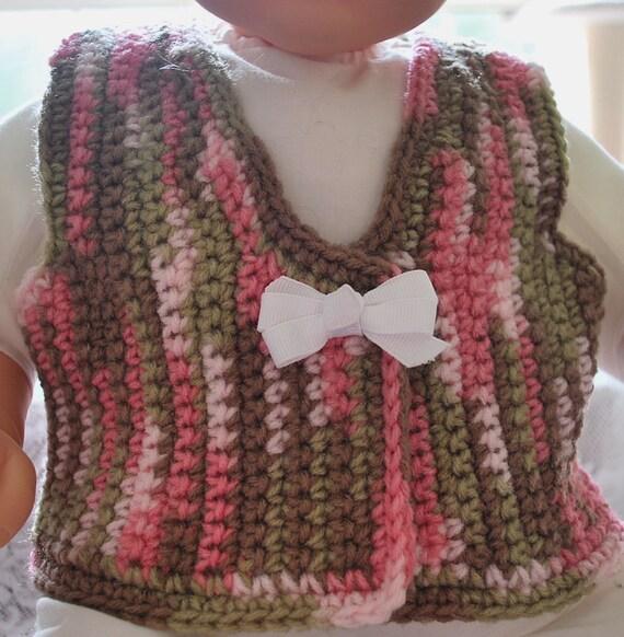 Crochet Baby Hunting Vest Pattern : Crochet Baby Pink Camo Vest Camouflage by AuntieMCrochetCloset