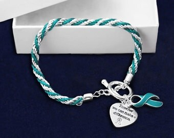 Teal Ribbon Rope Bracelet (RE-B-02-3)