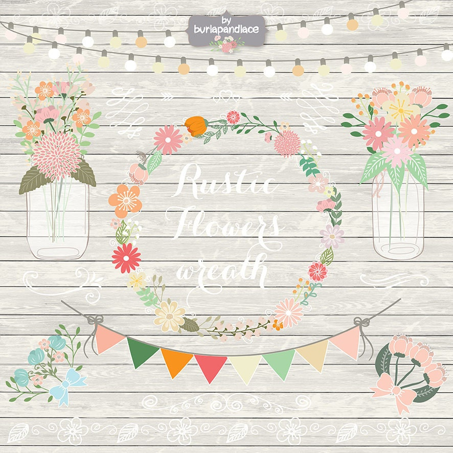 Rustic Wedding Clipart, Shabby Chic Clipart, Hand Drawn