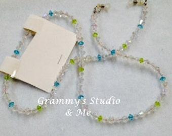 "Blue, Green and Rose Beaded Eyeglass Lanyard, 30"" Handmade"