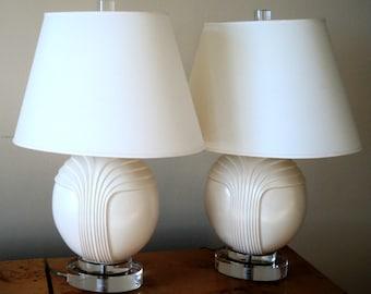 SALE!!!  Pair of Ceramic & Lucite Table Lamps