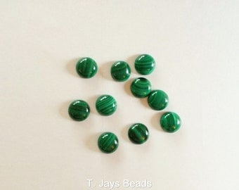 1 x 8mm Malachite Coin/Round Cabochon -