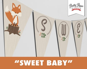 Sweet Baby Banner - Woodland // INSTANT DOWNLOAD // Gender Neutral Baby Shower Bunting // Fox Shower Decor // Printable BS03