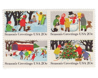 12 Unused Vintage Postage Stamps - 1982 20c Seasons Greetings - Item No. 2027