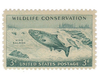 1956 3c Wildlife Conservation - King Salmon - 10 Unused Vintage Postage Stamps - Item No. 1079