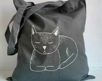 cat loaf - hand screen printed tote bag