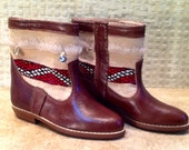 Handcrafted Moroccan Kilim Boot in Brown Leather - Size 37