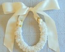 wedding horseshoe, wrapped w rossette ribbon w Ivory Satin Ribbon-Wedding horseshoe,bridal Gift, bespoke Gift, custom bridal horseshoe
