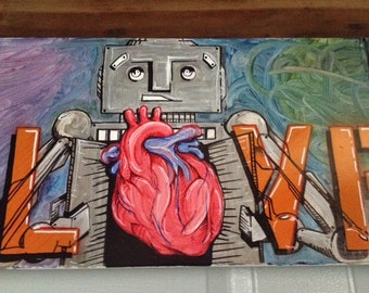 Robot and Heart Oil Pastel on Canvas