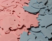 Gender Reveal Baby Pink and Baby Blue Elephant Die Cut Confetti