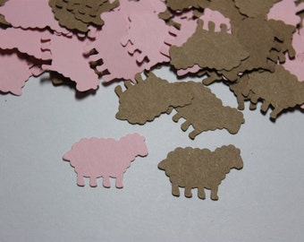 100pc Darling Baby Pink and Kraft Lamb Die Cuts Confetti